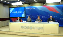 Participants in the online news conference on the outcomes of the BRICS Academic Forum at the Rossiya Segodnya International Multimedia Press Centre in Moscow
