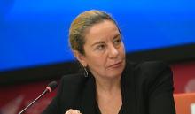 Модератор Оксана Буряк во время онлайн пресс-конференции Итоги Академического форума БРИКС в Международном мультимедийном пресс-центре МИА Россия сегодня в Москве