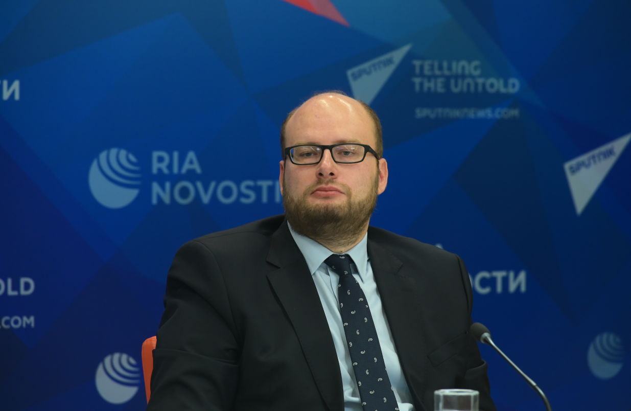 Mikhail Kalugin, Head of the BRICS Section Policy Planning Department, Russian Foreign Ministry, during the online news conference on the outcomes of the BRICS Academic Forum at the Rossiya Segodnya International Multimedia Press Centre in Moscow