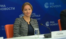Natalya Stapran, Director, Multilateral Economic Cooperation and Special Projects Department, Ministry of Economic Development of the Russian Federation, during the online news conference on the outcomes of the BRICS Academic Forum at the Rossiya Segodnya International Multimedia Press Centre in Moscow