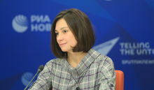 Alexandra Morozkina, Head of the Structural Reforms Division at Economic Expert Group (EEG), during a press conference on new projects of the Russian BRICS Chairmanship at the International Multimedia Press Centre of Rossiya Segodnya International News Agency in Moscow