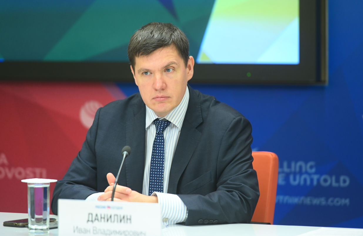 Ivan Danilin, Head of the Department of Science and Innovation, Head of the Innovation Policy Sector at IMEMO RAS, during a press conference on new projects of the Russian BRICS Chairmanship at the International Multimedia Press Centre of Rossiya Segodnya International News Agency in Moscow