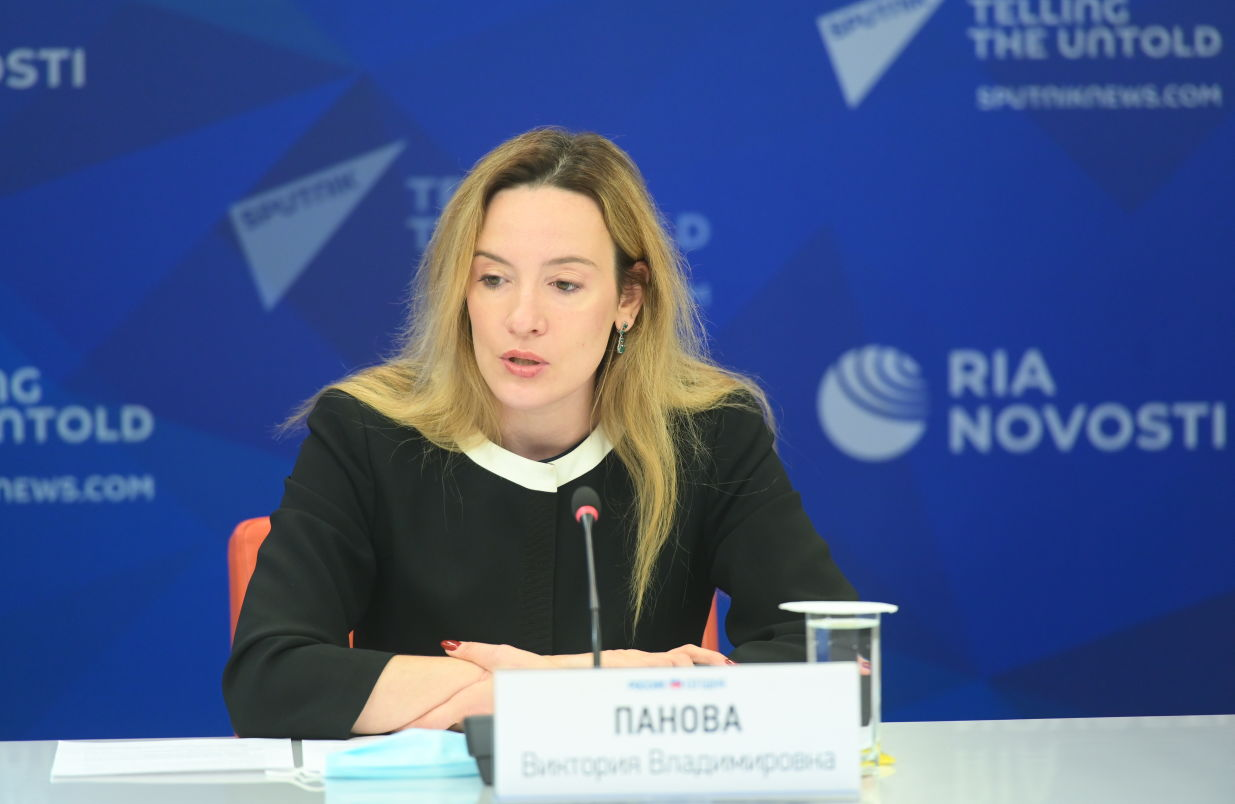 Victoria Panova, Managing Director of the Russian National Committee on BRICS Research, Scientific Supervisor of BRICS Russia Expert Council, during a press conference on new projects of the Russian BRICS Chairmanship at the International Multimedia Press Centre of Rossiya Segodnya International News Agency in Moscow